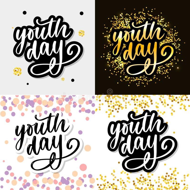Het van letters voorzien van Internationale van de de jeugddag gele slogan als achtergrond royalty-vrije stock foto's
