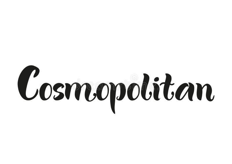 Het van letters voorzien van Kosmopolitisch in zwarte op witte achtergrond wordt geïsoleerd die royalty-vrije illustratie