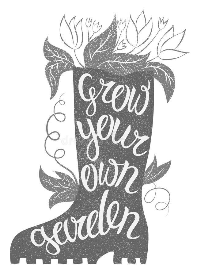 Het van letters voorzien - kweek uw eigen tuin Vectorillustratie met rubbe vector illustratie