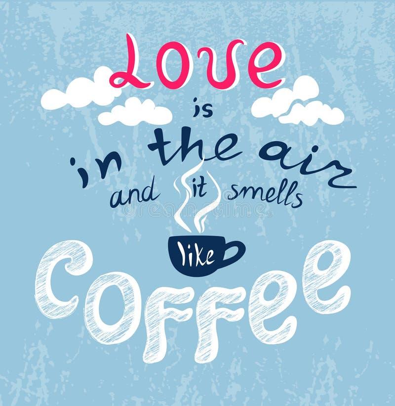 Het van letters voorzien Liefde in de lucht stock illustratie