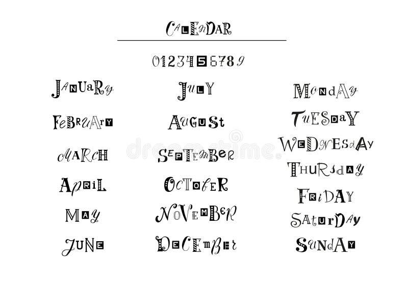 Het van letters voorzien van namen van maanden, de dagen van de week en de getallen met verschillende brieven in zwarte voor cale stock illustratie