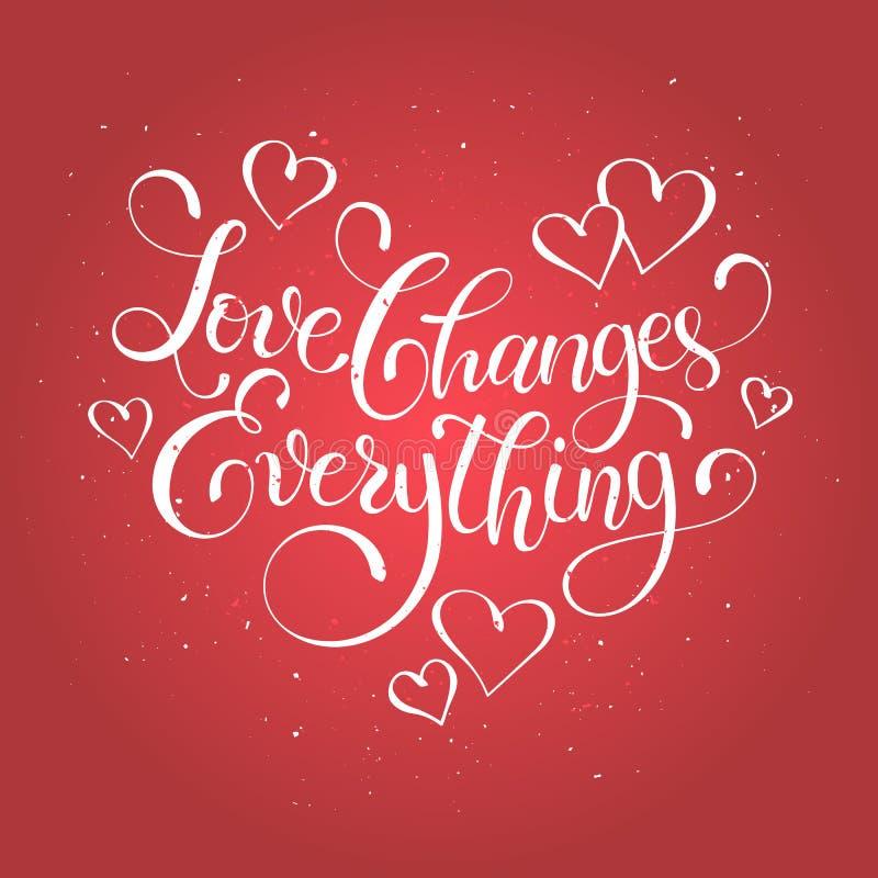 Het van letters voorzien over liefde vector illustratie
