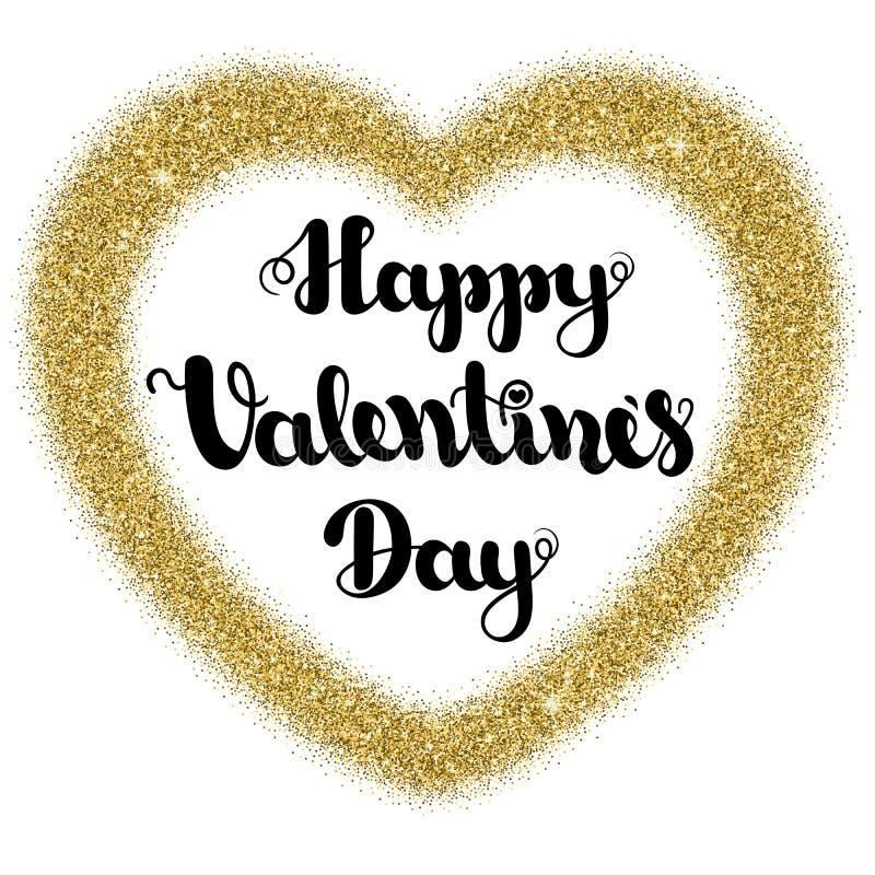 Het van letters voorzien schittert de Gelukkige Valentijnskaartendag in de vorm van het kaderhart van goud op een witte achtergro royalty-vrije stock afbeelding