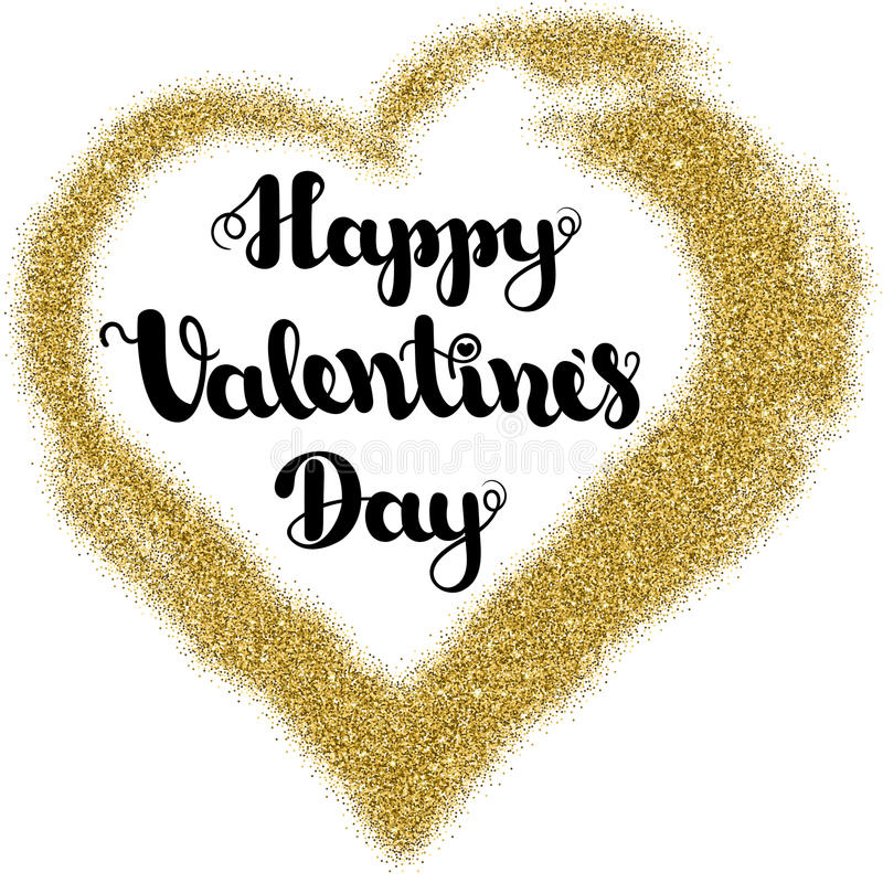 Het van letters voorzien schittert de Gelukkige Valentijnskaartendag in de vorm van het kaderhart van goud op een witte achtergro royalty-vrije stock fotografie
