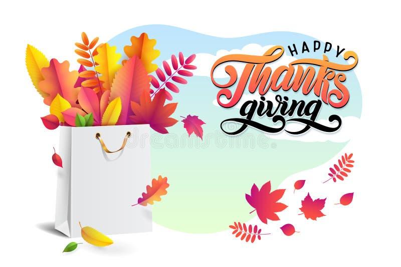 Het van letters voorzien tekst Gelukkige Dankzegging Vector helder boeket van de herfst gevallen bladeren in witte het winkelen z stock illustratie