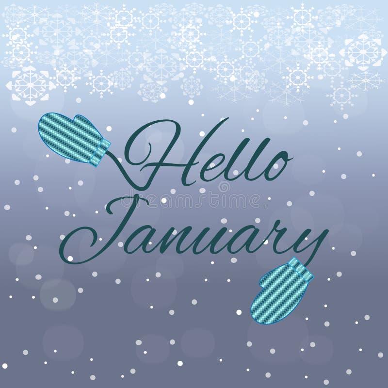 Het van letters voorzien van Hello Januari op blauwe achtergrond stock afbeelding