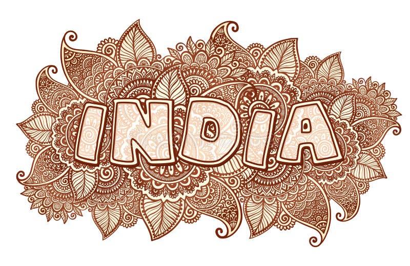Het van letters voorzien van India op mehndi bloemenachtergrond van hennakleuren royalty-vrije illustratie