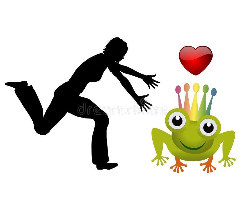 Het vangen van de Prins Frog royalty-vrije illustratie