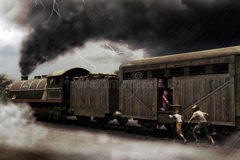 Het vangen van de trein royalty-vrije illustratie