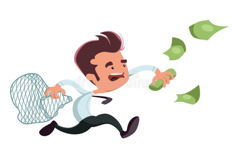 Het vangen van het karakter van het de illustratiebeeldverhaal van de geldzakenman vector illustratie