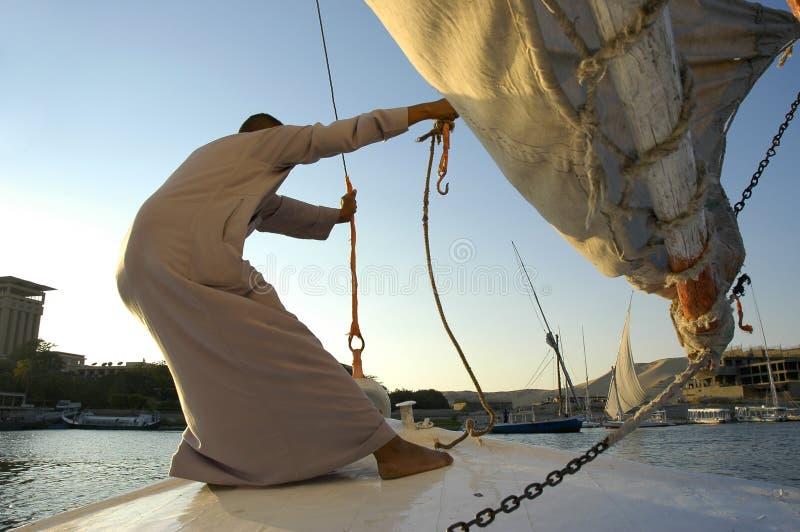 Het vangen van wind. De rivier van Egypte, Nijl stock fotografie