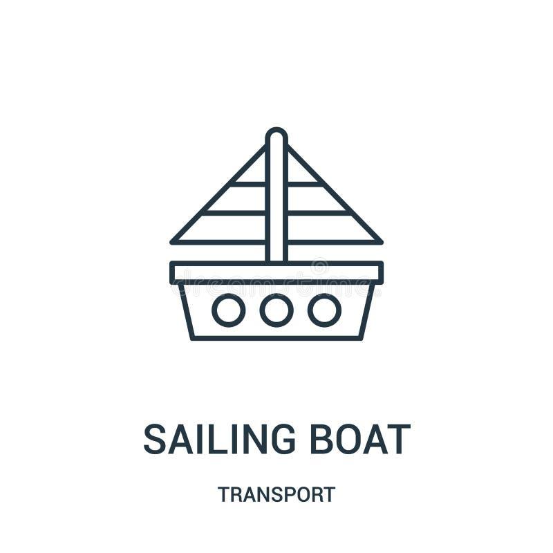 het varen de vector van het bootpictogram van vervoerinzameling De dunne van het het overzichtspictogram van de lijn varende boot royalty-vrije illustratie