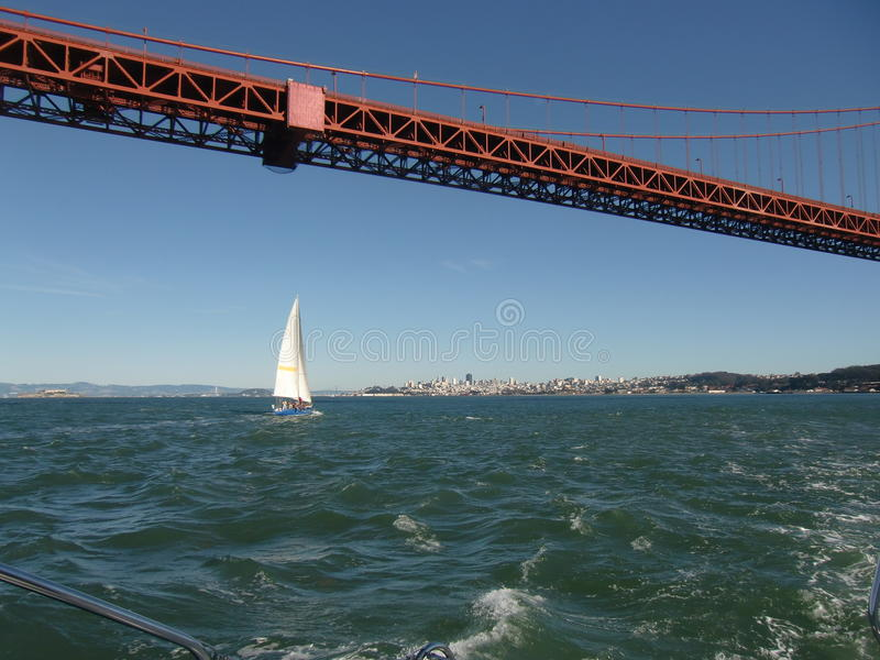 Het varen onder Golden gate bridge stock fotografie