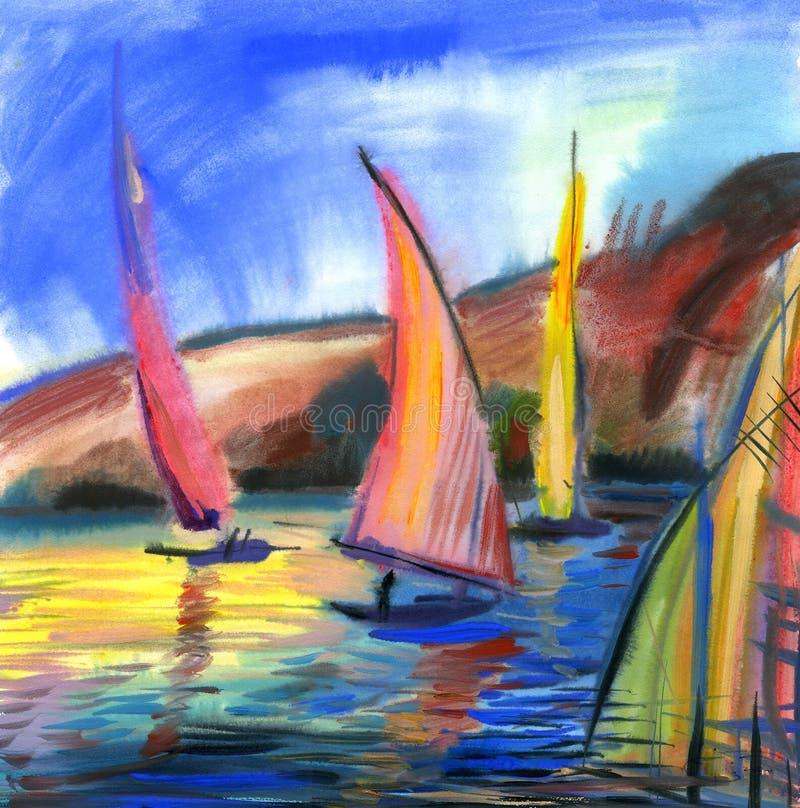 Het varen regatta royalty-vrije illustratie