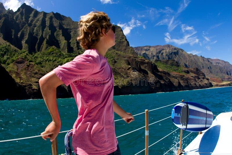 Het varen van de Napali Kust Kauai stock foto