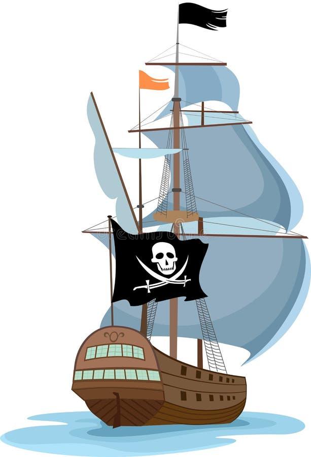 Het varende schip van de piraat vector illustratie