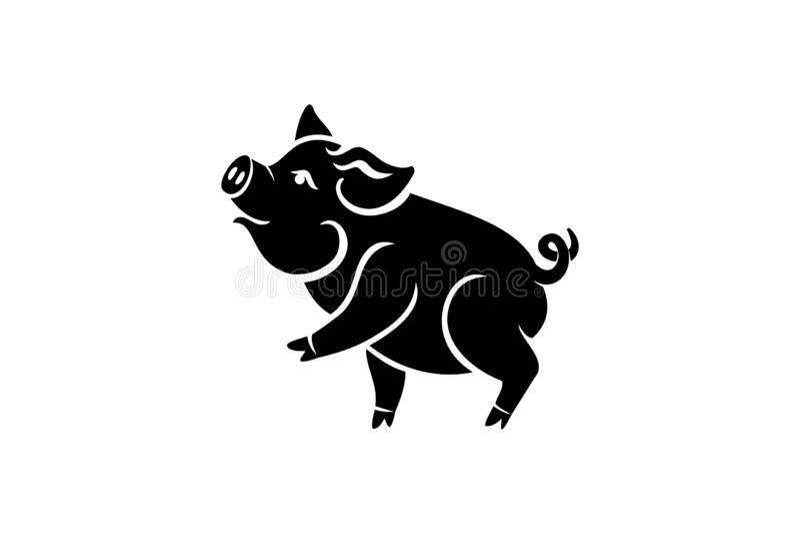 Het varken is een symbool van het Chinese jaar van 2019 Groetkaart, affiche Vector illustratie Eps 10 royalty-vrije stock afbeelding