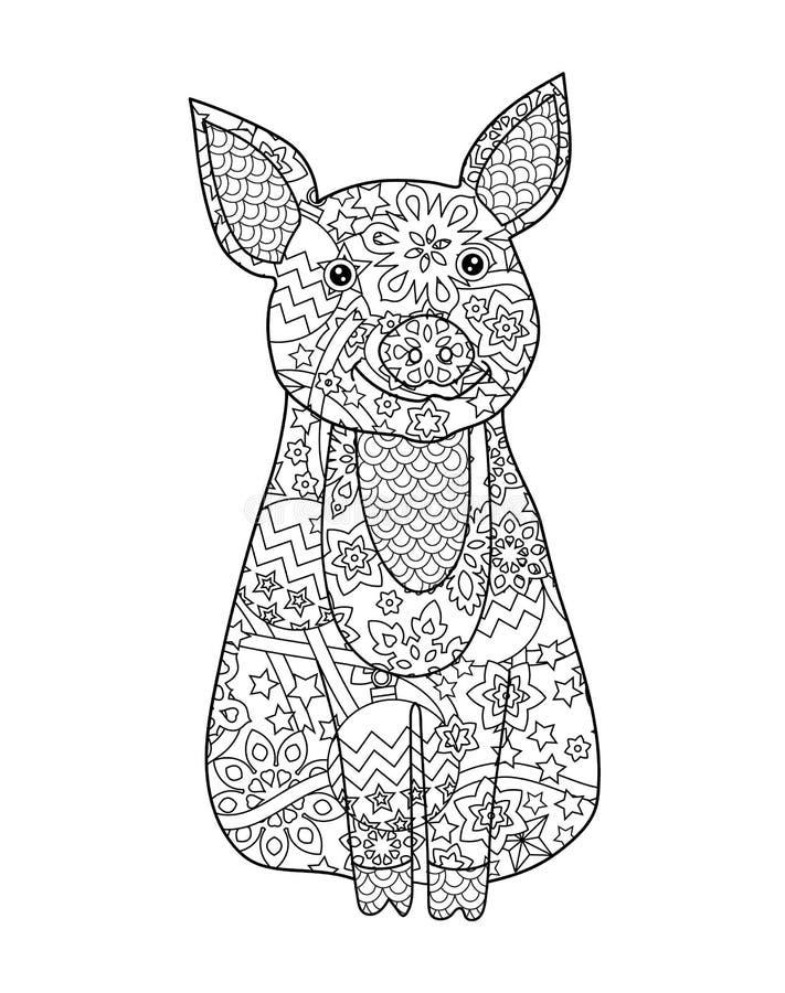 Het varken, simbol van Nieuwjaar 2019 in zentangle inspireerde krabbelstijl op wit wordt geïsoleerd dat Kleurende boekpagina voor royalty-vrije illustratie
