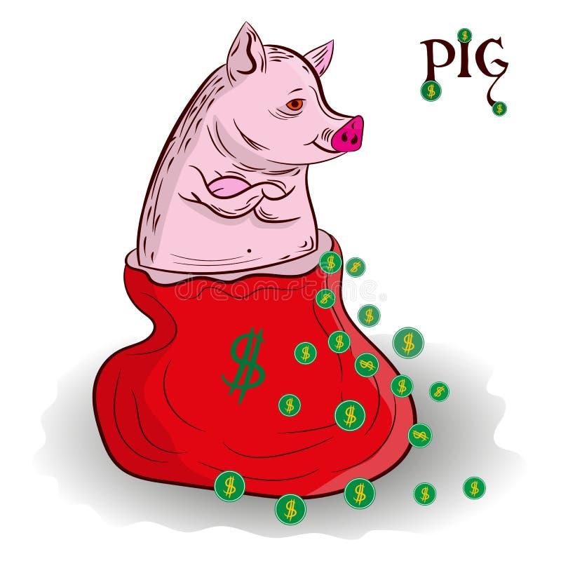 Het varken is het symbool van het jaar, zit in de zak-kerstman, en rond vector illustratie
