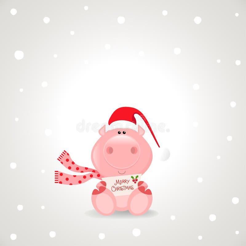 Het Varken van Kerstmis royalty-vrije illustratie