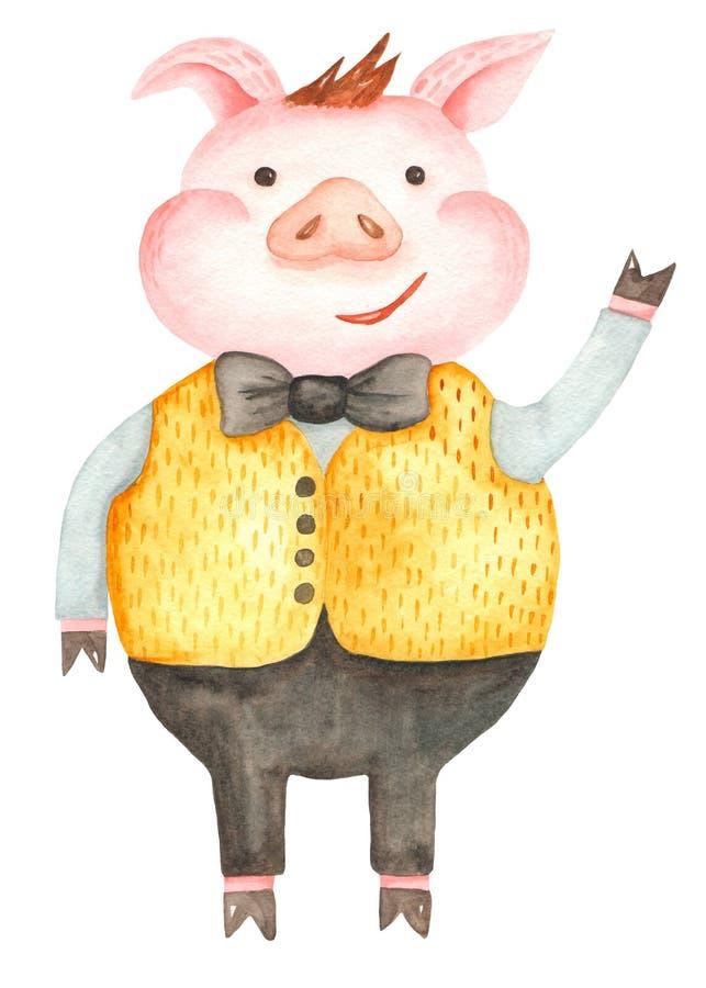 Het varken van het waterverfbeeldverhaal het symbool van nieuwe 2019 stock illustratie