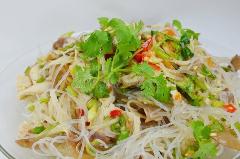 Het varkensvlees kruidige salade van de glasnoedel royalty-vrije stock foto's