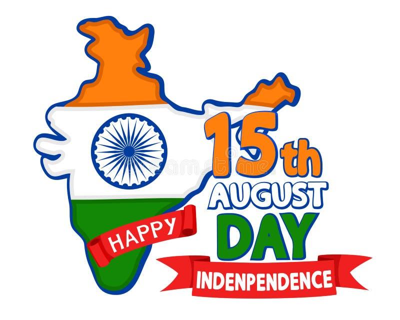 Het vasteland India schilderde in de nationale vlag, felicitatietekst op een wit De achtergrond van de onafhankelijkheid Day vector illustratie