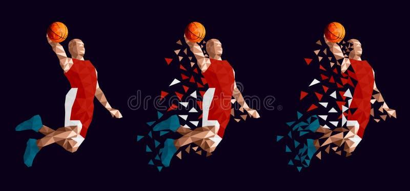 Het vastgestelde abstracte ontwerp van de basketbalspeler royalty-vrije illustratie