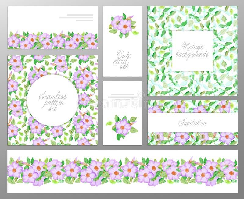 Het vastgestelde bestaan uit naadloos bloemenpatroon twee, bladgrens en onthaal of groetkaarten Huwelijk, de verjaardag van de mo stock illustratie
