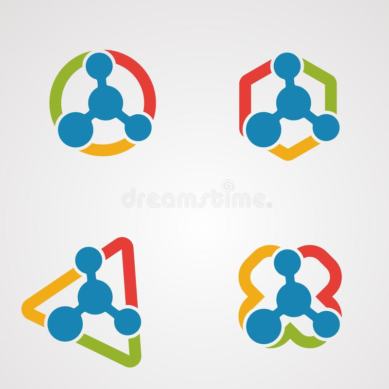 Het vastgestelde concept, het pictogram, het element, en het malplaatje van het moleculeembleem vector voor bedrijf royalty-vrije illustratie