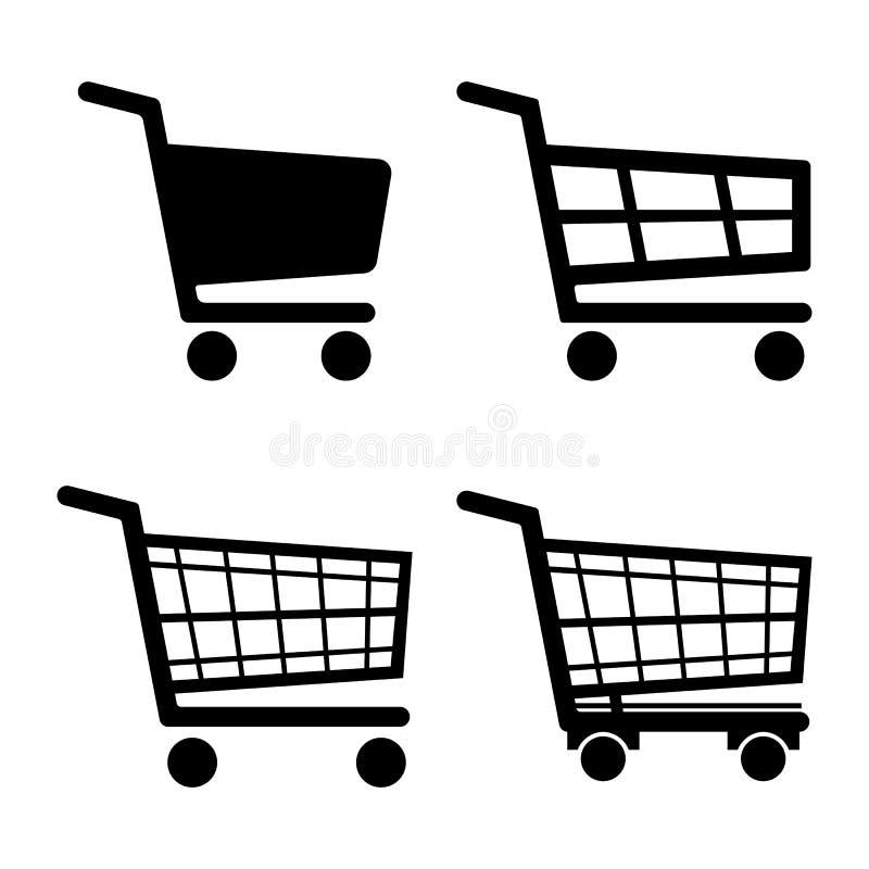 Het vastgestelde die pictogram van het boodschappenwagentjepictogram op witte achtergrond wordt geïsoleerd Vector illustratie stock illustratie