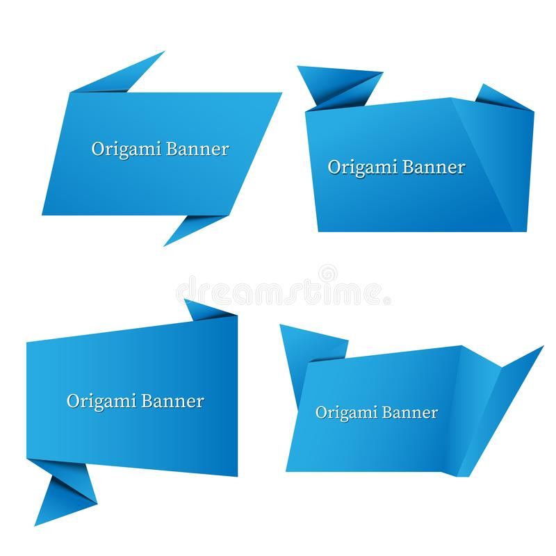 het vastgestelde document van de bannerorigami stock illustratie
