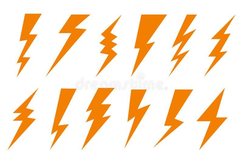 Het vastgestelde donder en boutpictogram van de verlichtingsflits Elektrische blikseminslag, het pictogram van de bliksembout, ge royalty-vrije illustratie