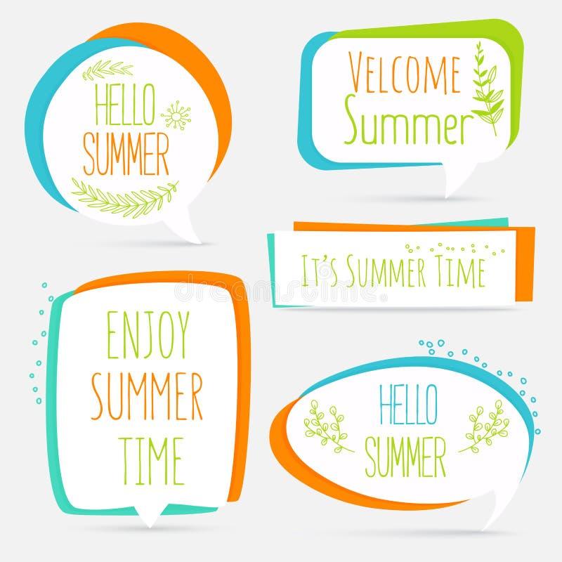 Het vastgestelde embleem van de de zomerbanner, sticker, toespraakbel met bloem vector illustratie