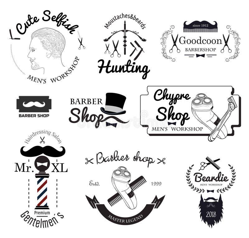 Het vastgestelde embleem van de kapperswinkel, etiketten, kentekens en ontwerpelement stock illustratie