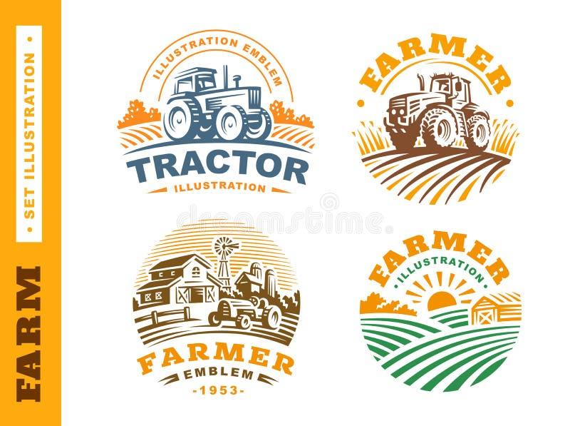 Het vastgestelde embleem van het Illustratielandbouwbedrijf op donkere achtergrond royalty-vrije illustratie