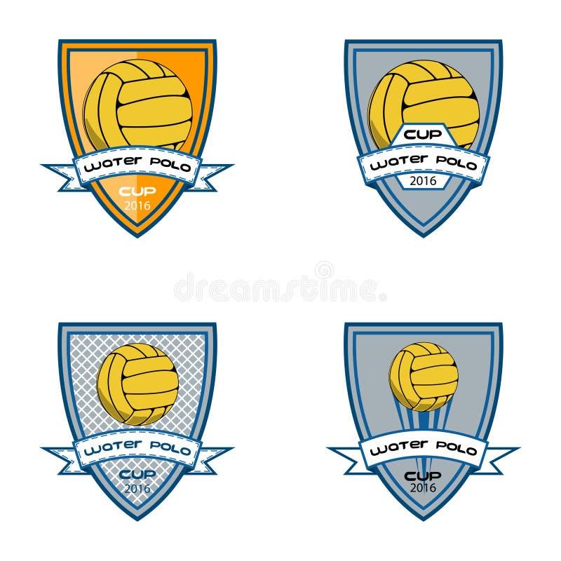 Het vastgestelde embleem van het waterpolo voor het team en de kop stock illustratie