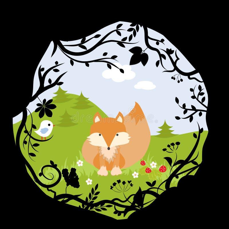 Het vastgestelde Forest Fox Bird Wild Cute-Beeldverhaal van het Aardhout stock illustratie