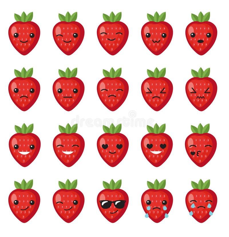 Het vastgestelde gezicht van aardbeiemoties Vastgestelde aardbei smileys Aardbeien met Kawaii-gezicht op een witte achtergrond Aa vector illustratie