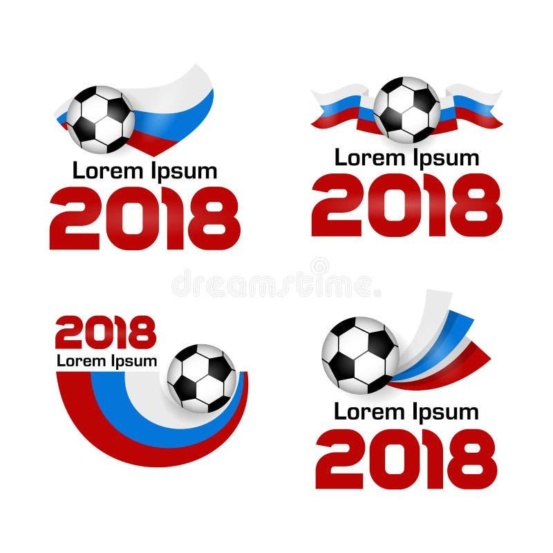Het vastgestelde Kampioenschap 2018 Rusland van de embleemvoetbal vector illustratie