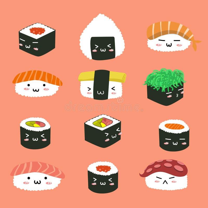 Het vastgestelde leuke patroon van het sushikarakter royalty-vrije illustratie