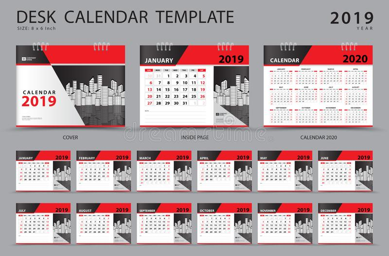 Het vastgestelde malplaatje van de Bureaukalender 2019 Reeks van 12 Maanden ontwerper Het begin van de week op Zondag Kantoorbeho vector illustratie
