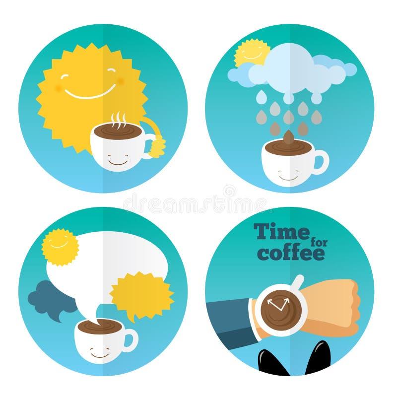 Het vastgestelde malplaatje van het koffiepictogram royalty-vrije illustratie