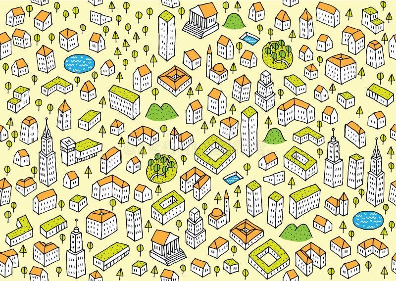 Het Vastgestelde Naadloze patroon van de architectuur royalty-vrije illustratie