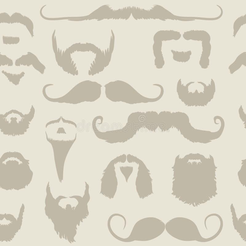 Het vastgestelde naadloze patroon van de snor en van de baard vector illustratie