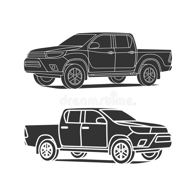 Het vastgestelde overzicht van het pick-upsilhouet en zwarte pictogram vectorillustratie vector illustratie