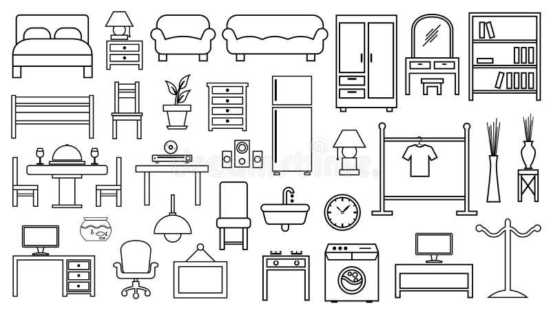 Het vastgestelde overzicht van het meubilairpictogram vector illustratie