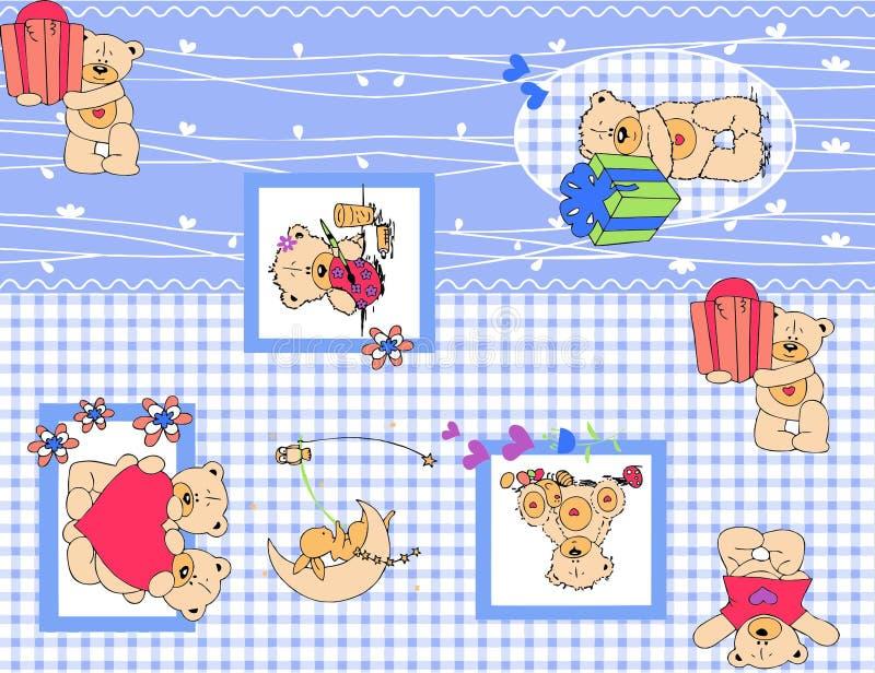 Het vastgestelde patroon van de teddybeeraard stock illustratie