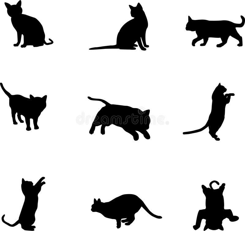 Het vastgestelde silhouet van het kattenbeeldverhaal op witte achtergrond stock illustratie