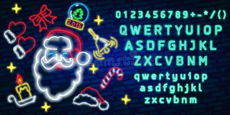 Het vastgestelde teken van het Kerstmisneon Neonteken, helder uithangbord, lichte banner Vector pictogrammen stock illustratie